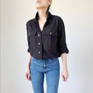 MONROE Button Down Utility Black Shirt